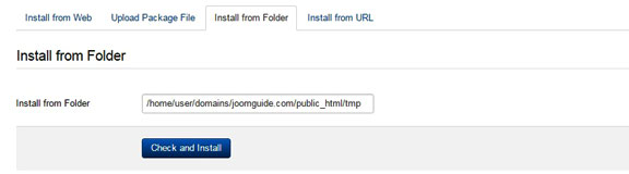 How to install Joomla extensions - Install from folder