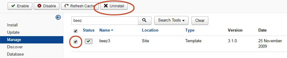 Uninstall Joomla extensions - 3