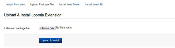Install an extension in Joomla - Upload file package