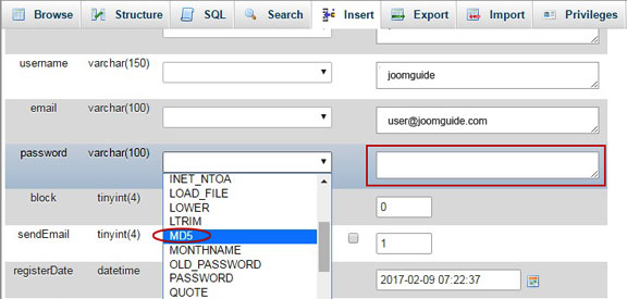 Reset Joomla Administrator Password - Select MD5