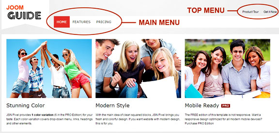 Create and publish menu items - Joomla menu sample