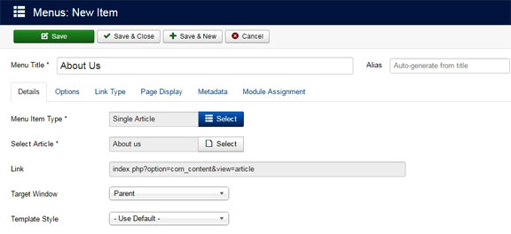 Create and publish menu items in joomla - Save and close