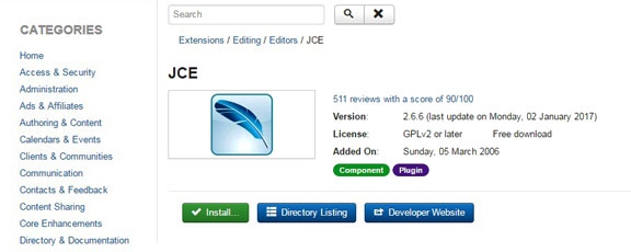 Extend the default Joomla editor - JCE installation