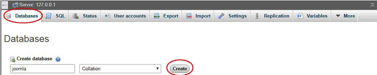 Install Joomla Locally - Create Database