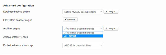 Back up your Joomla website - Akeeba backup format