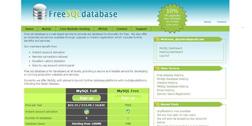 Free MySQL hosting with remote access - Free SQL Database