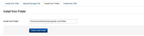 Install a Joomla template - Install from folder