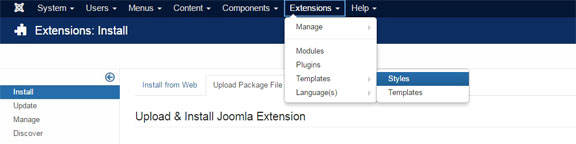 Install a Joomla template - Navigate to Template Styles